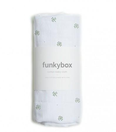 Pieluszka Bawełniana 70x70, Olive Lucky Clover Funkybox