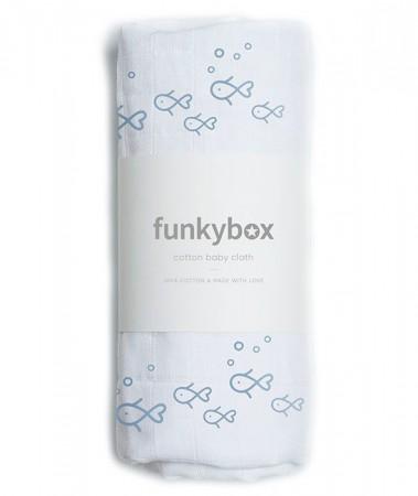 Pieluszka Bawełniana 70x70, Vintage Blue Fish Funkybox