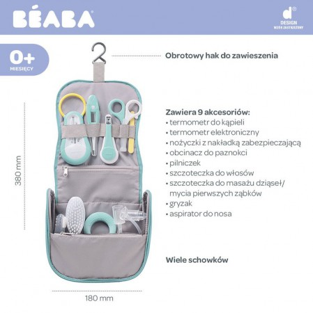 Kosmetyczka z 9 akcesoriami do pielęgnacji niemowląt mint Beaba