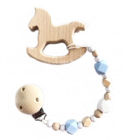 Drewniana zawieszka do smoczka i gryzak Konik | niebieskie i białe koraliki | Luna